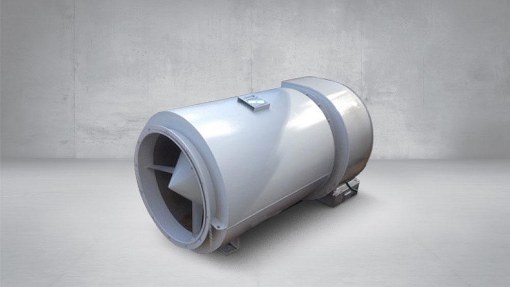 Silenciador cilindrico snvc acoplado a ventilador 25dB(A)