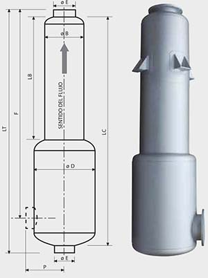 croquis medidas Smd40 - Ficha silenciador acústico Smd40