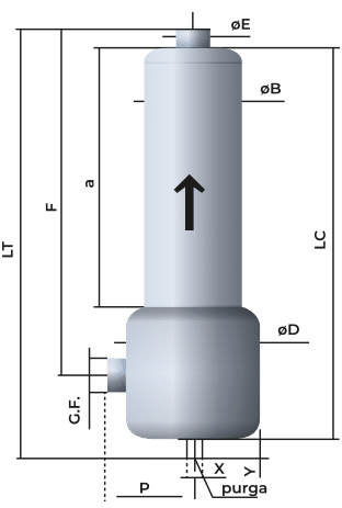 Croquis de silenciador acústico para compresores, bombas, anillos, roots DSRd