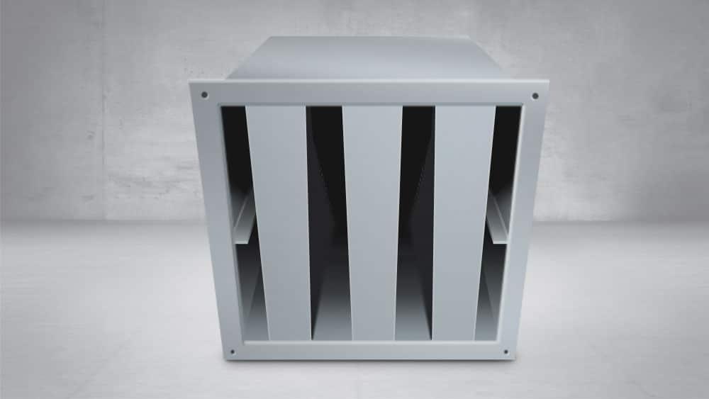 Silenciador de ventilación rectangular