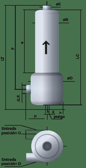 Croquis de silenciador acústico para compresores, bombas, anillos, roots SRdS