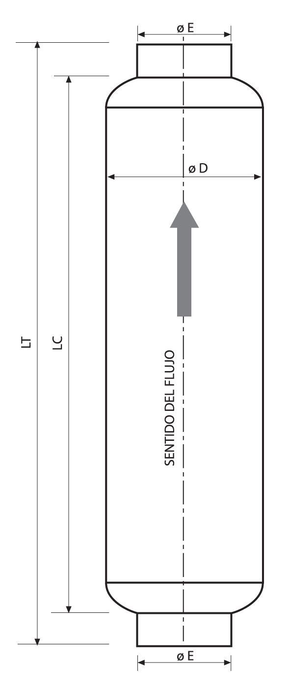 Croquis del silenciador acustico sm15 y su sentido de flujo