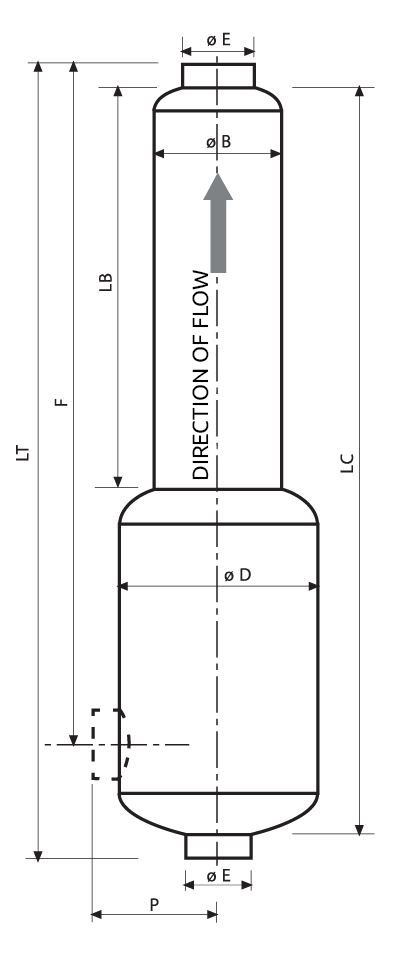 Sketch of the smd40 acoustic silencer and its flow direction