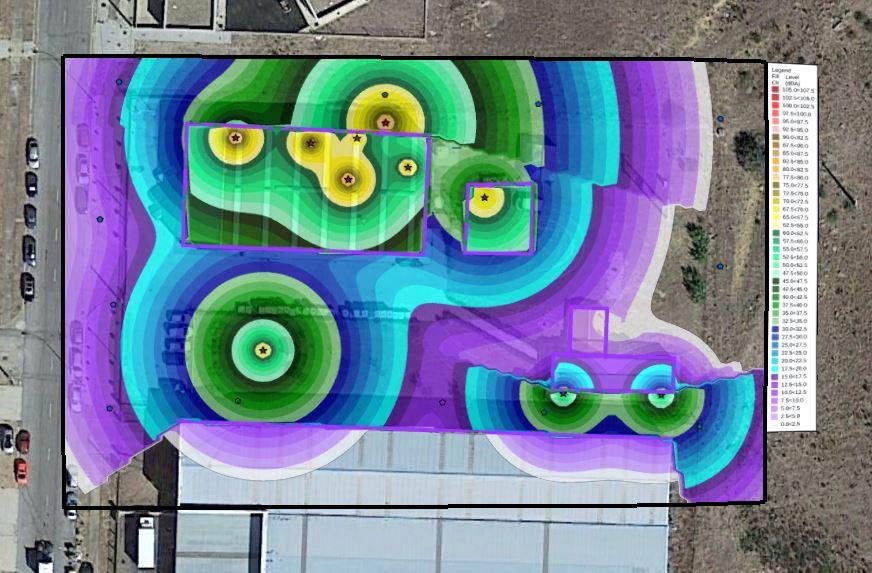 Mapa de ruido acútico predictivo con contorno de linea